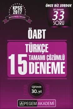 Pegem 2017 ÖABT Türkçe Tamamı Çözümlü 15 Deneme