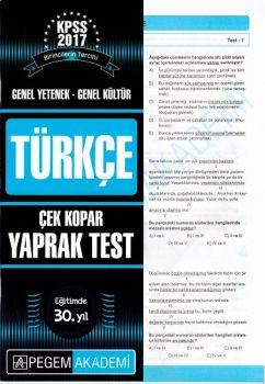 Pegem 2017 KPSS Genel Yetenek Genel Kültür Türkçe Çek Kopar Yaprak Test