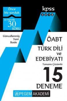 Pegem Akademi ÖABT Türk Dili ve Edebiyatı Tamamı Çözümlü 15 Deneme