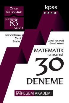 Pegem Yayınları 2018 KPSS Genel Yetenek Genel Kültür Matematik Geometri 30 Deneme