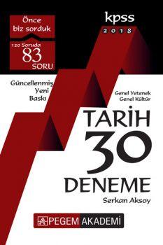 Pegem Yayınları 2018 KPSS Genel Yetenek Genel Kültür Tarih 30 Deneme