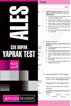 Pegem Yayınları 2018 ALES Çek Kopar Yaprak Test