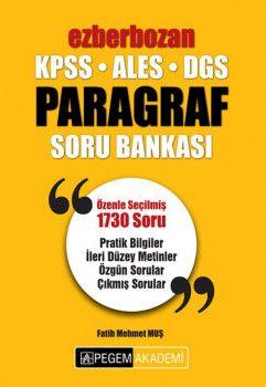 Pegem Yayınları 2018 KPSS ALES DGS Ezberbozan Paragraf Soru Bankası