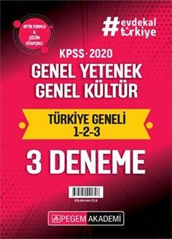 Pegem Yayınları 2020 KPSS Genel Yetenek Genel Kültür Türkiye Geneli Deneme 1 2 3 3 lü Deneme Seti