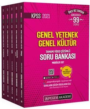 Pegem Yayınları 2021 KPSS Genel Yetenek Genel Kültür Tamamı Video Çözümlü Soru Bankası Modüler Set 5 Kitap