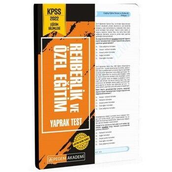 Pegem Yayınları 2022 KPSS Eğitim Bilimleri Rehberlik ve Özel Eğitim Yaprak Test