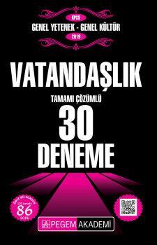 Pegem Yayınları 2019 KPSS Genel Yetenek Genel Kültür Vatandaşlık Tamamı Çözümlü 30 Deneme