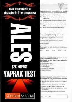 Pegem Yayınları ALES Çek Kopart Yaprak Test