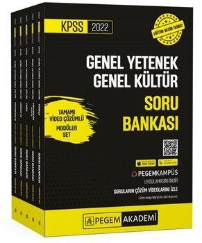 Pegem Yayınları2022 KPSS Genel Yetenek Genel Kültür Tamamı Video Çözümlü Soru Bankası Modüler Set