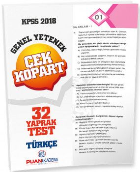 Puan Akademi 2018 KPSS Genel Yetenek Türkçe Çek Kopart Yaprak Test
