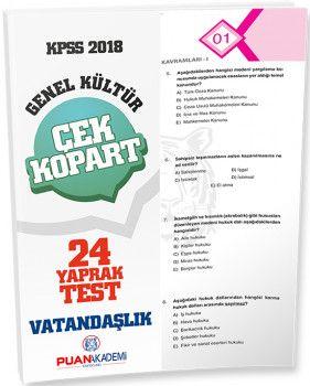 Puan Akademi 2018 KPSS Genel Yetenek Genel Kültür Vatandaşlık Çek Kopart Yaprak Test
