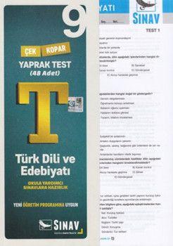 Sınav Yayınları 9. Sınıf Türk Dili ve Edebiyatı Çek Kopar Yaprak Test