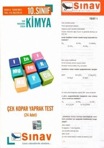 Sınav Yayınları 10. Sınıf Kimya Çek Kopar Yaprak Test