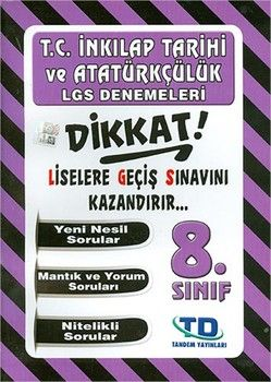 Tandem Yayınları 8. Sınıf LGS T.C. İnkılap Tarihi Denemeleri