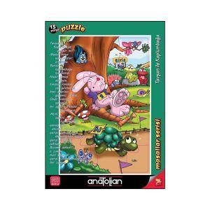 Tavşan İle Kaplumbağa 15 Parça Puzzle - Yapboz