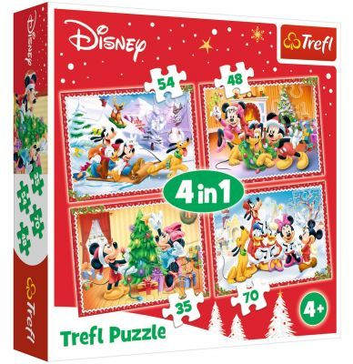 Trefl Puzzle Disney Standard Characters Christmas Time 4\'lü 35+48+54+70 Parça Yapboz