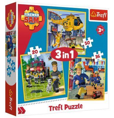 Trefl Puzzle Fireman Sam in Action 3\'lü 20+36+50 Parça Yapboz