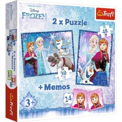 Trefl Puzzle Frozen Sisters 2\'li 30+48 Parça Yapboz 1 Memory Oyun