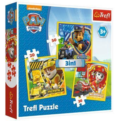 Trefl Puzzle Paw Patrol  Marshall, Rubble And Chase 3\'lü 20+36+50 Parça Yapboz