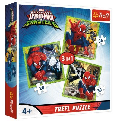 Trefl Puzzle Spiderman\'s World 3\'lü 20+36+50 Parça Yapboz