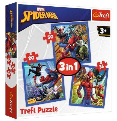 Trefl Puzzle Spiderman Spider Force 3\'lü 20+36+50 Parça Yapboz