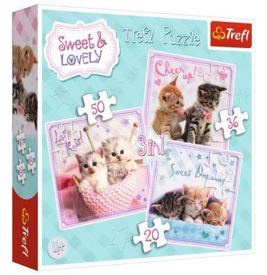 Trefl Puzzle Sweet Kittens 3\'lü 20+36+50 Parça Yapboz