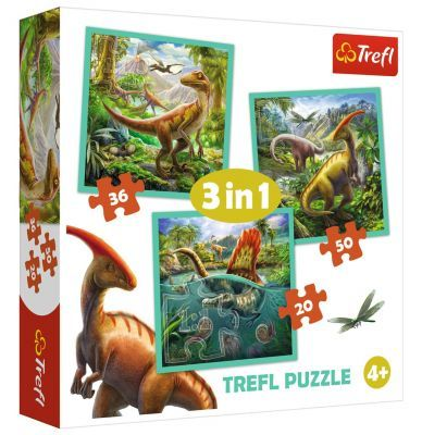 Trefl Puzzle World Of Dinosaur 3\'lü 20+36+50 Parça Yapboz