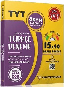 Veri Yayınları TYT Türkçe 15x40 Branş Deneme