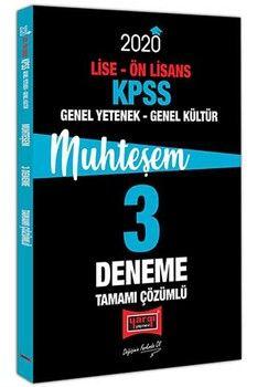 Yargı Yayınları 2020 KPSS Lise Ön Lisans Genel Yetenek Genel Kültür Muhteşem Tamamı Çözümlü 3 Deneme