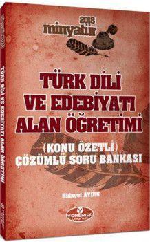 Yönerge Yayınları 2018 Minyatür Türk Dili ve Edebiyatı Alan Öğretimi Konu Özetli Çözümlü Soru Bankası