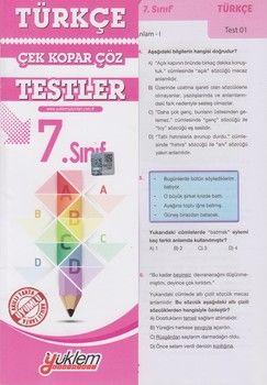 Yüklem Yayınları 7. Sınıf Türkçe Çek Kopar Çöz Testler