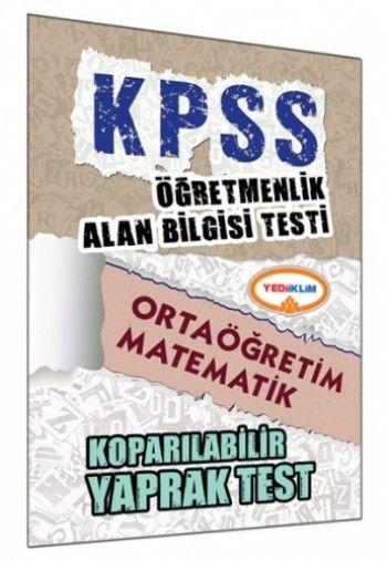 Yediiklim ÖABT Ortaöğretim Matematik Öğretmenliği Çek Kopart Yaprak Test