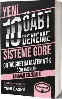 Yediiklim Yayınları ÖABT Ortaöğretim Matematik Öğretmenliği Tamamı Çözümlü 10 Deneme