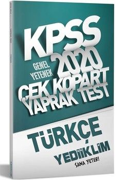 Yediiklim Yayınları 2020 KPSS Genel Kültür Türkçe Çek Kopart Yaprak Test