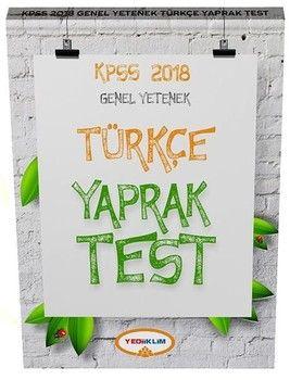 Yediiklim Yayınları 2018 KPSS Genel Yetenek Türkçe Çek Kopart Yaprak Test