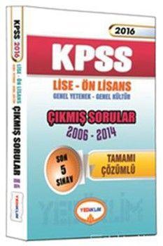 Yediiklim Yayınları 2016 KPSS Lise Önlisans Genel Yetenek Genel Kültür Çıkmış Sorular
