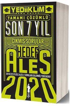Yediiklim Yayınları 2020 ALES Son 7 Yıl Tamamı Çözümlü Çıkmış Sorular
