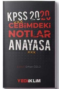 Yediiklim Yayınları 2020 KPSS Anayasa Cebimdeki Notlar