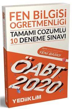 Yediiklim Yayınları 2020 ÖABT Fen Bilgisi Öğretmenliği Tamamı Çözümlü 10 Deneme Sınavı