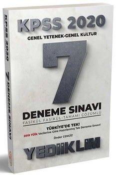 Yediiklim Yayınları 2020 KPSS Genel Yetenek Genel Kültür 7 Deneme Sınavı