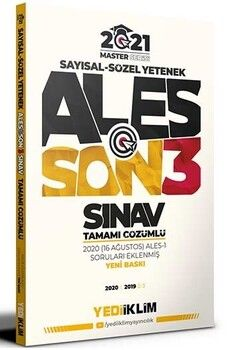 Yediiklim Yayınları 2021 ALES Son 3 Sınav Tamamı Çözümlü Çıkmış Sorular Master Serisi