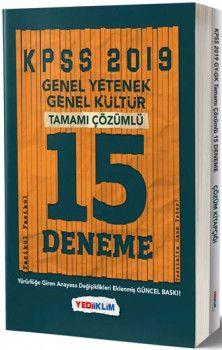 Yediiklim Yayınları 2019 KPSS Genel Yetenek Genel Kültür Tamamı Çözümlü 15 Deneme