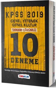 Yediiklim Yayınları  2019 KPSS Genel Yetenek Genel Kültür Tamamı Çözümlü 10 Deneme