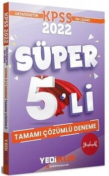 Yediiklim Yayınları 2022 KPSS Ortaöğretim Ön Lisans GY GK Tamamı Çözümlü Süper 5 li Deneme