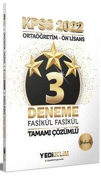 Yediiklim Yayınları 2022 KPSS Ortaöğretim Ön Lisans GY GK 3 Yıldız Tamamı Çözümlü Fasikül Deneme