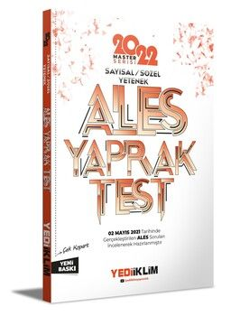 Yediiklim Yayınları 2022 Master Serisi Ales Sayısal Sözel Yetenek Çek Kopart Yaprak Test