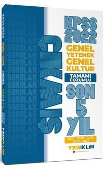 Yediiklim Yayınları 2022 KPSS GY GK Tamamı Çözümlü Son 5 Yıl Çıkmış Sorular
