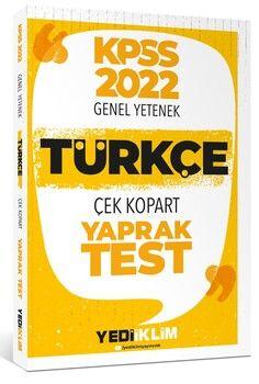 Yediiklim Yayınları 2022 KPSS Lisans Genel Yetenek Türkçe Çek Kopart Yaprak Test