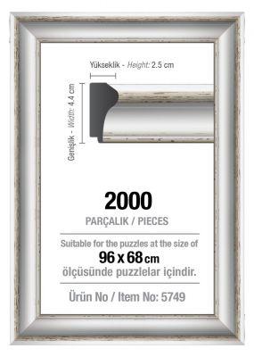 Art Puzzle 2000'lik Beyaz 96 x 68 cm Puzzle Çerçevesi (43 mm)