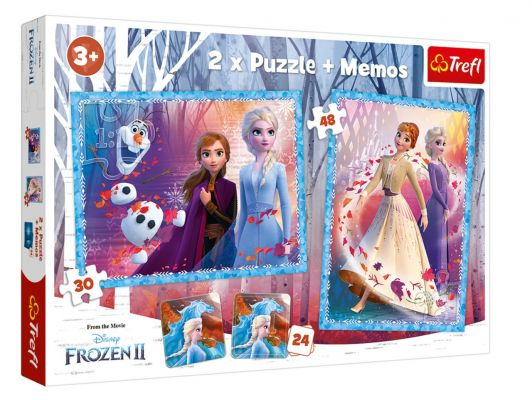 Trefl Puzzle Frozen II A Mysterious Land 2\'li 30+48 Parça Yapboz 1 Memory Oyun